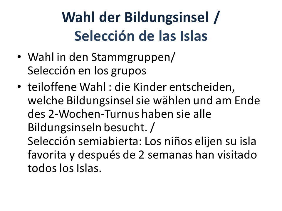 Wahl der Bildungsinsel / Selección de las Islas