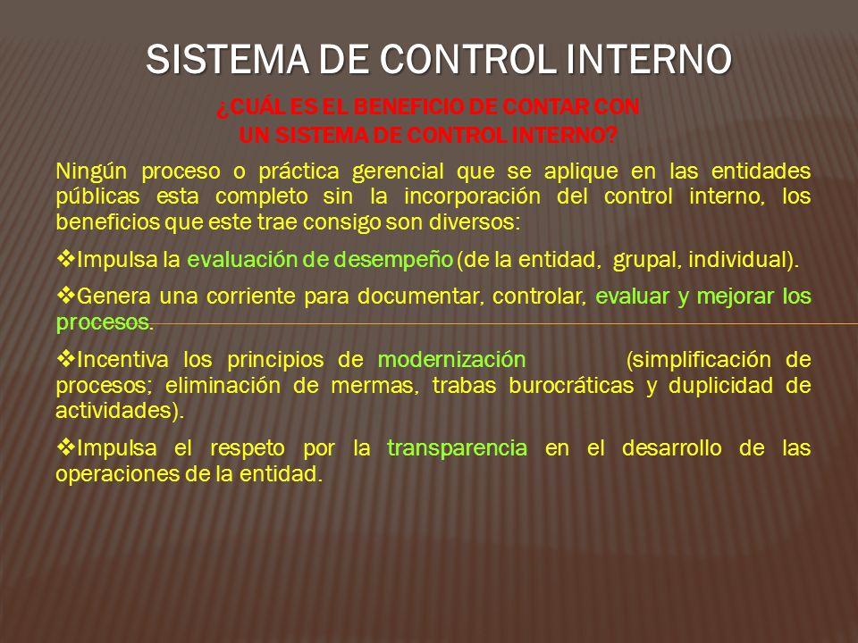 ¿Cuál es el beneficio de contar con un Sistema de Control Interno