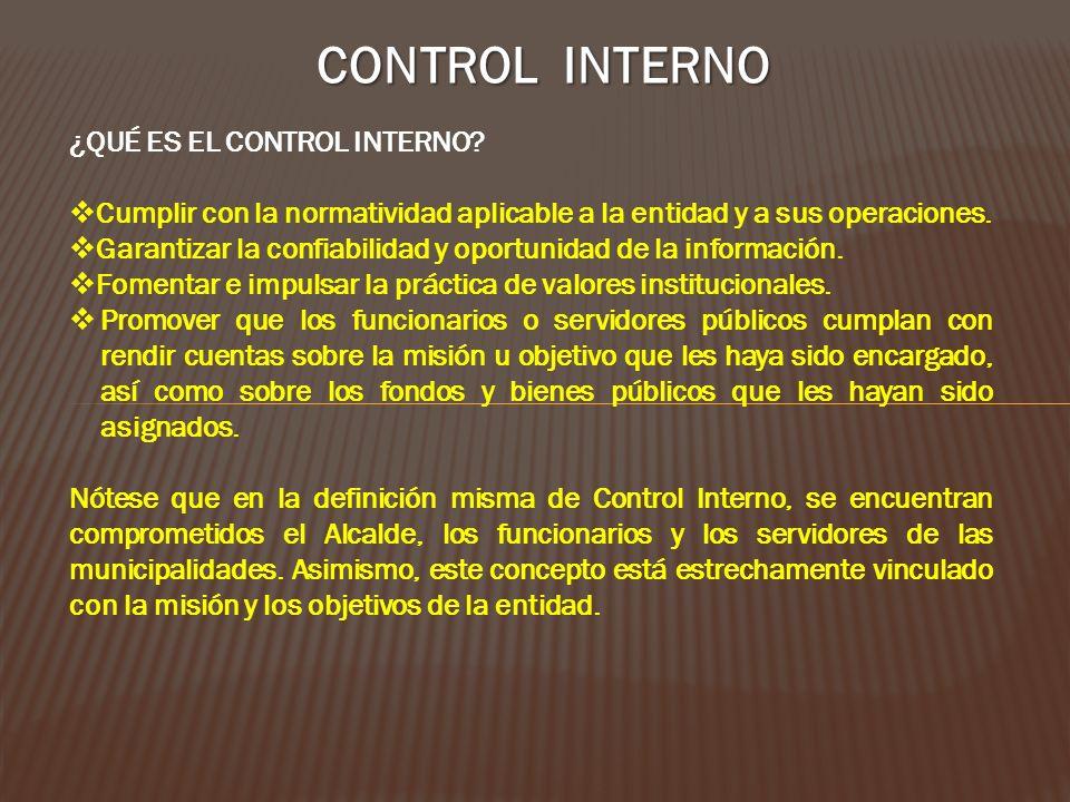 CONTROL INTERNO ¿QUÉ ES EL CONTROL INTERNO