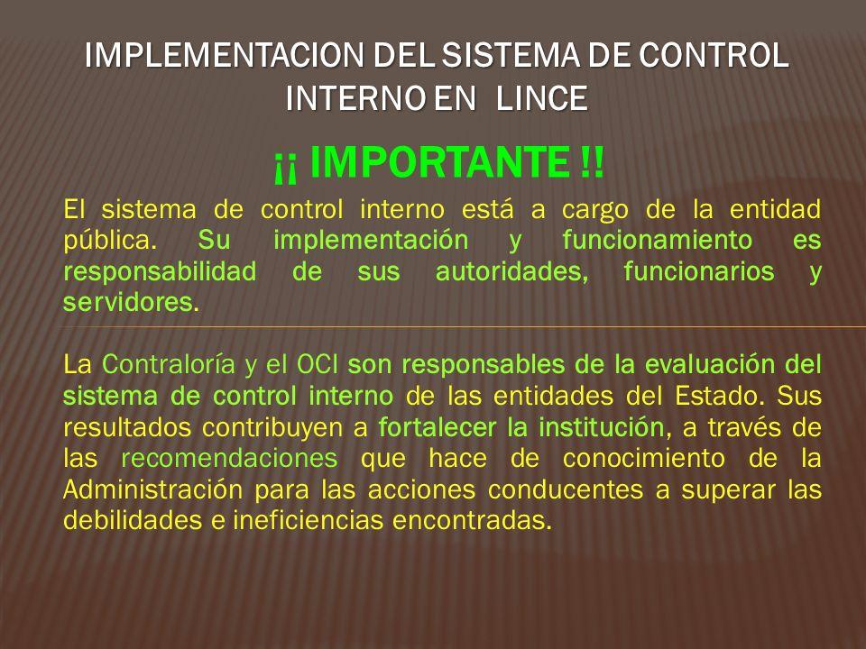 IMPLEMENTACION DEL SISTEMA DE CONTROL INTERNO EN LINCE