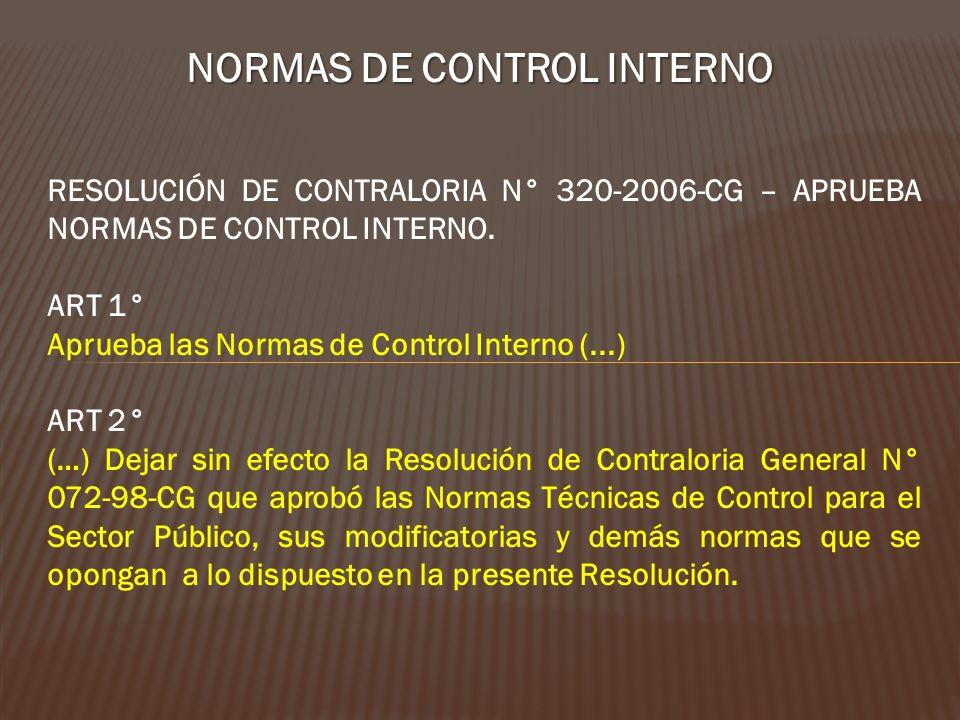 NORMAS DE CONTROL INTERNO