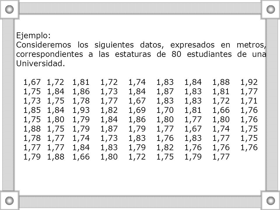 Ejemplo: Consideremos los siguientes datos, expresados en metros, correspondientes a las estaturas de 80 estudiantes de una Universidad.