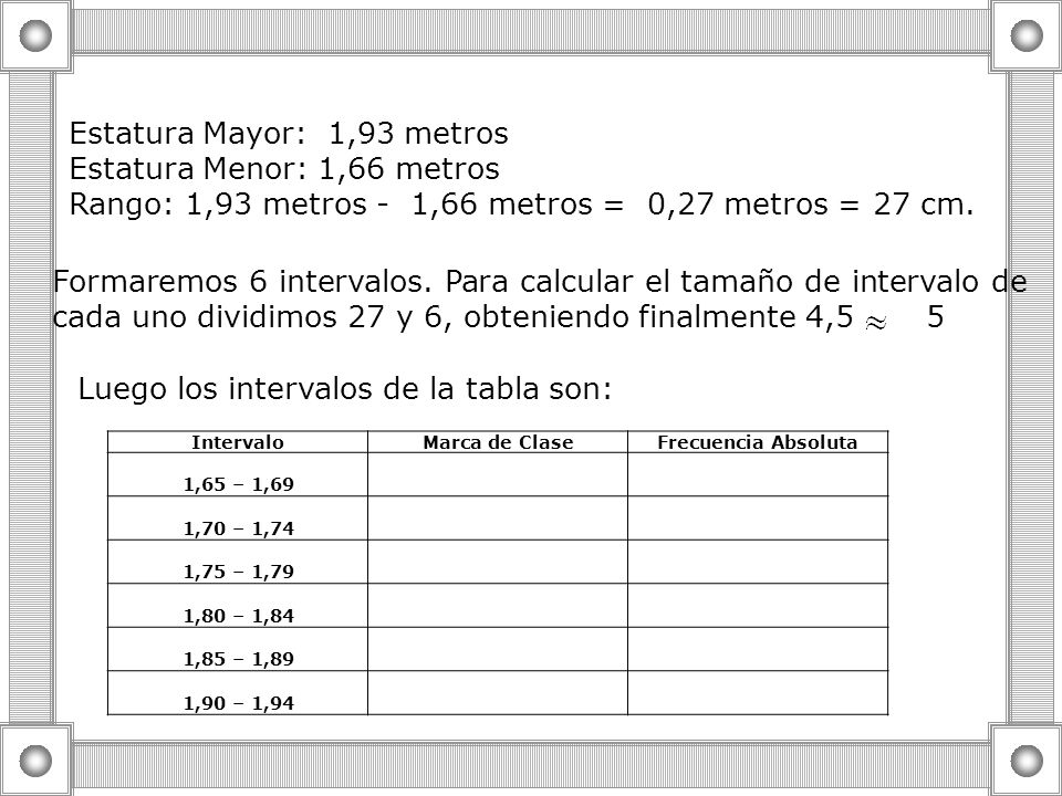 Estatura Mayor: 1,93 metros Estatura Menor: 1,66 metros