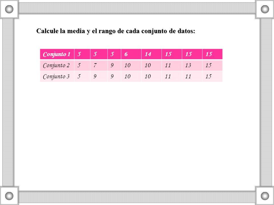Calcule la media y el rango de cada conjunto de datos: