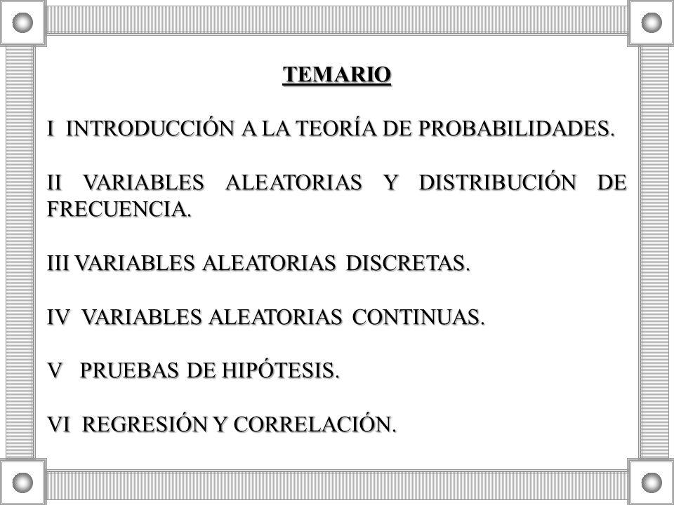 TEMARIO I INTRODUCCIÓN A LA TEORÍA DE PROBABILIDADES. II VARIABLES ALEATORIAS Y DISTRIBUCIÓN DE FRECUENCIA.