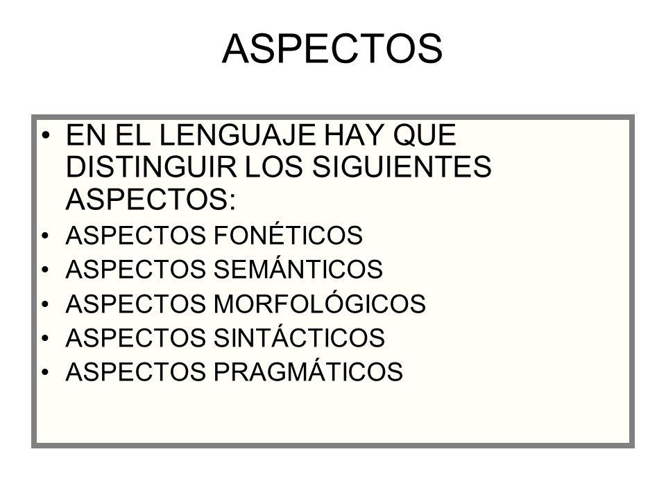 ASPECTOS EN EL LENGUAJE HAY QUE DISTINGUIR LOS SIGUIENTES ASPECTOS:
