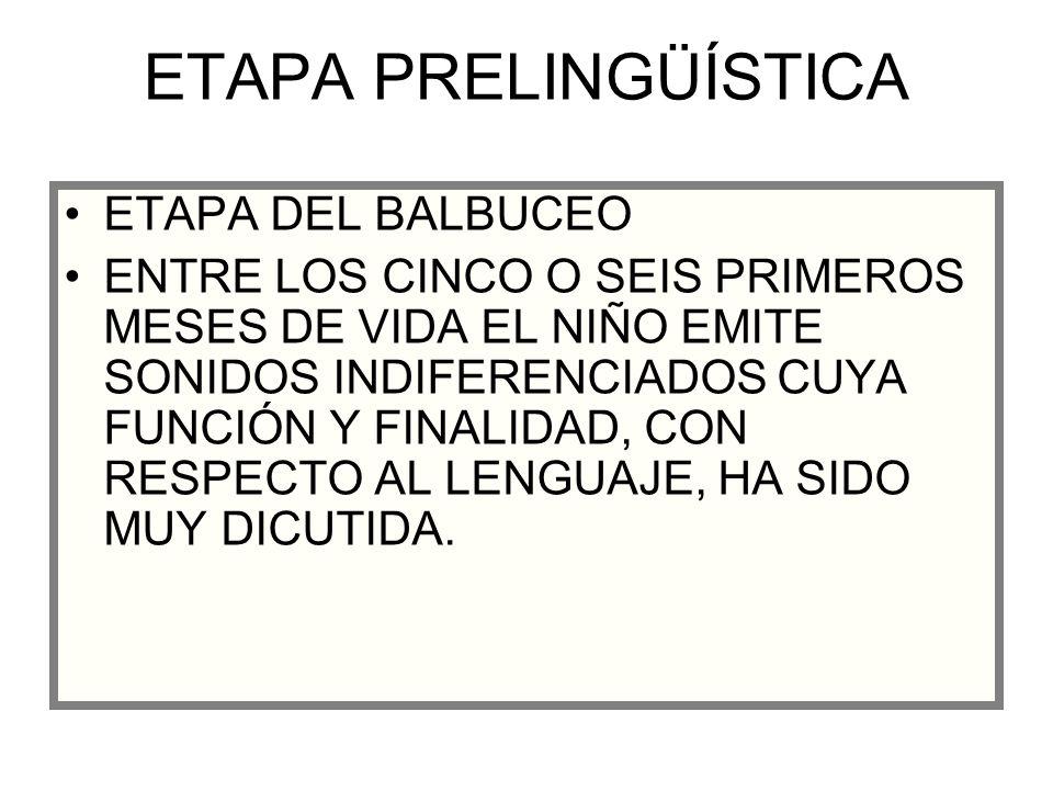 ETAPA PRELINGÜÍSTICA ETAPA DEL BALBUCEO