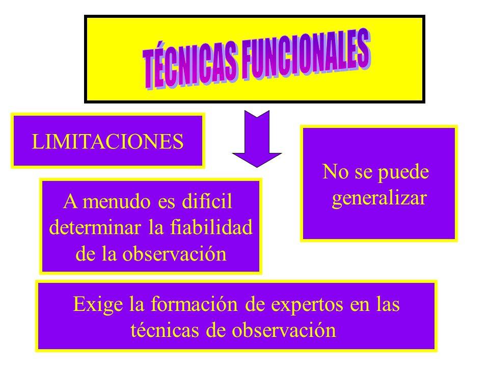 TÉCNICAS FUNCIONALES LIMITACIONES No se puede generalizar