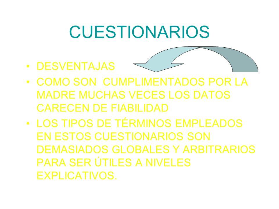 CUESTIONARIOS DESVENTAJAS