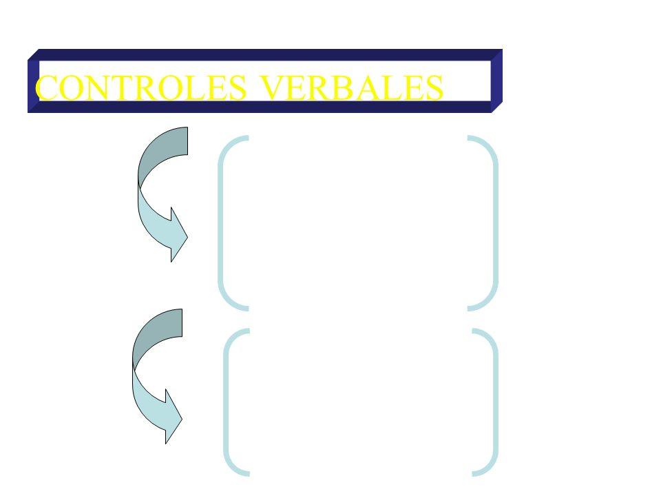 CONTROLES VERBALES DE ATENCIÓN Directivas Prohibitivas DE ACCIÓN