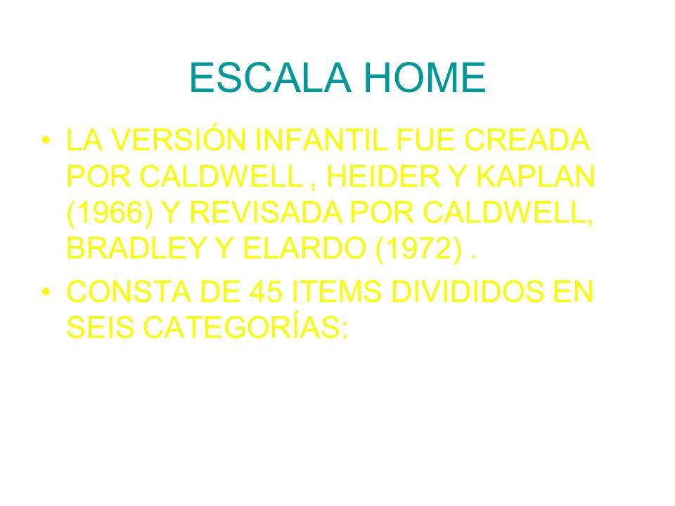 ESCALA HOME LA VERSIÓN INFANTIL FUE CREADA POR CALDWELL , HEIDER Y KAPLAN (1966) Y REVISADA POR CALDWELL, BRADLEY Y ELARDO (1972) .