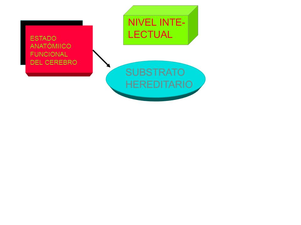 NIVEL INTE- LECTUAL SUBSTRATO HEREDITARIO ESTADO ANATÓMIICO FUNCIONAL