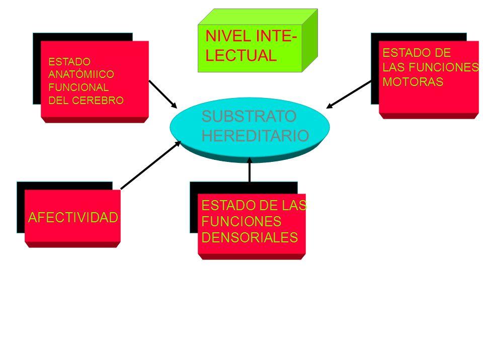 NIVEL INTE- LECTUAL SUBSTRATO HEREDITARIO ESTADO DE LAS FUNCIONES