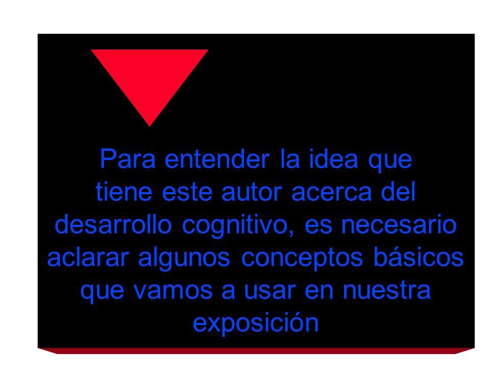 Para entender la idea que tiene este autor acerca del desarrollo cognitivo, es necesario aclarar algunos conceptos básicos que vamos a usar en nuestra exposición