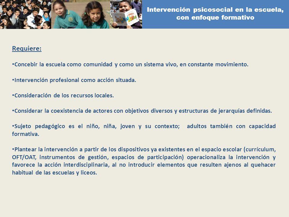 Intervención psicosocial en la escuela, con enfoque formativo