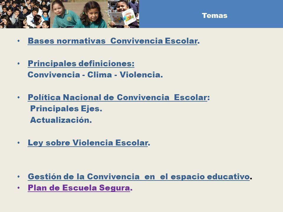 Bases normativas Convivencia Escolar. Principales definiciones: