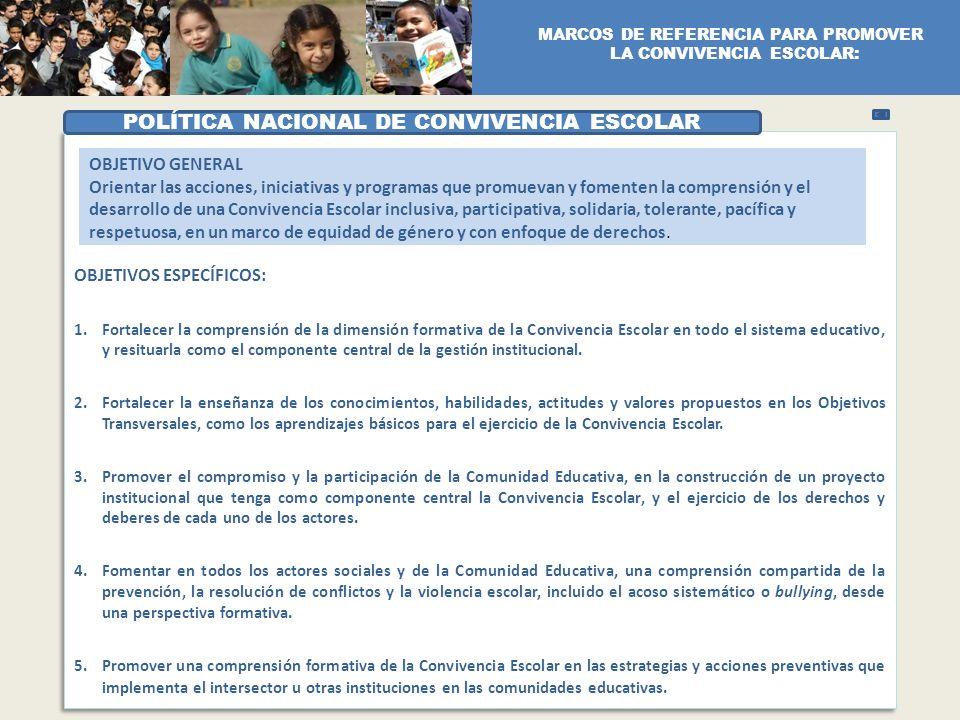 POLÍTICA NACIONAL DE CONVIVENCIA ESCOLAR OBJETIVO GENERAL