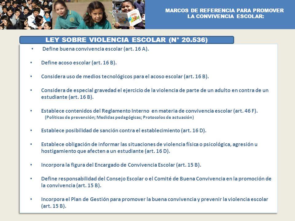 LEY SOBRE VIOLENCIA ESCOLAR (N° 20.536)