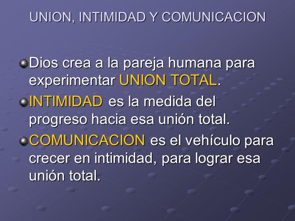 UNION, INTIMIDAD Y COMUNICACION