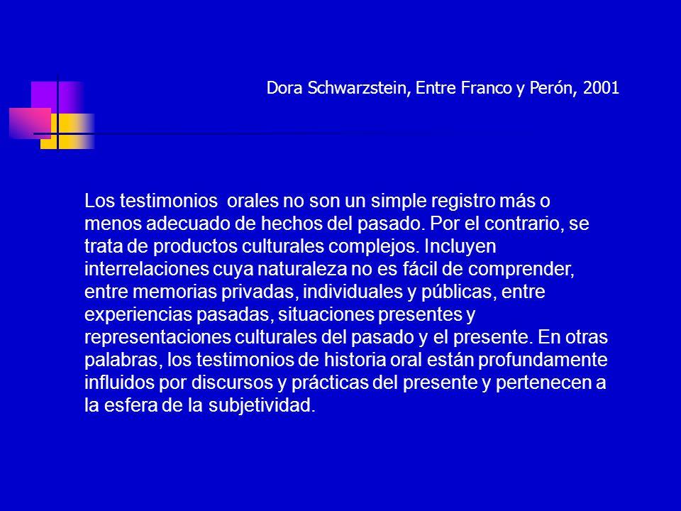 Dora Schwarzstein, Entre Franco y Perón, 2001
