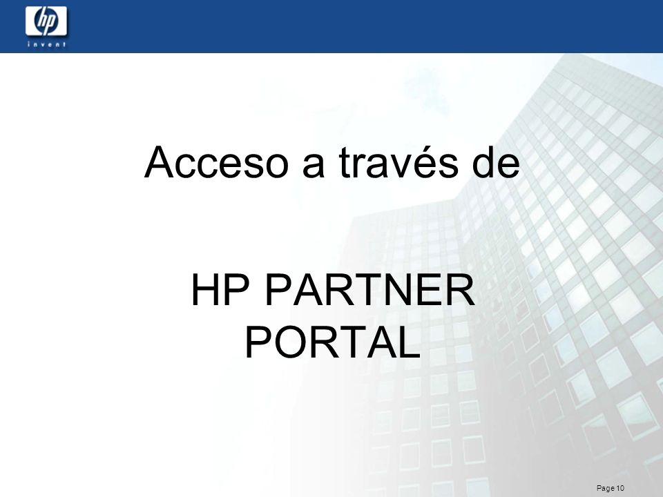 Acceso a través de HP PARTNER PORTAL
