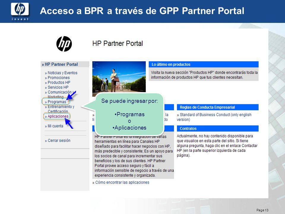 Acceso a BPR a través de GPP Partner Portal