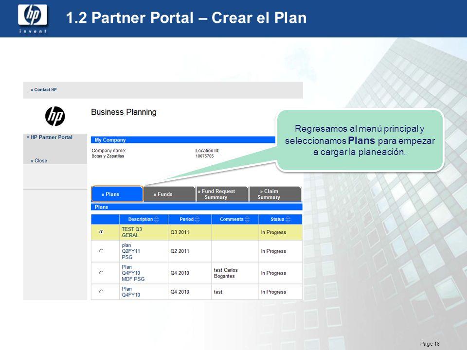 1.2 Partner Portal – Crear el Plan
