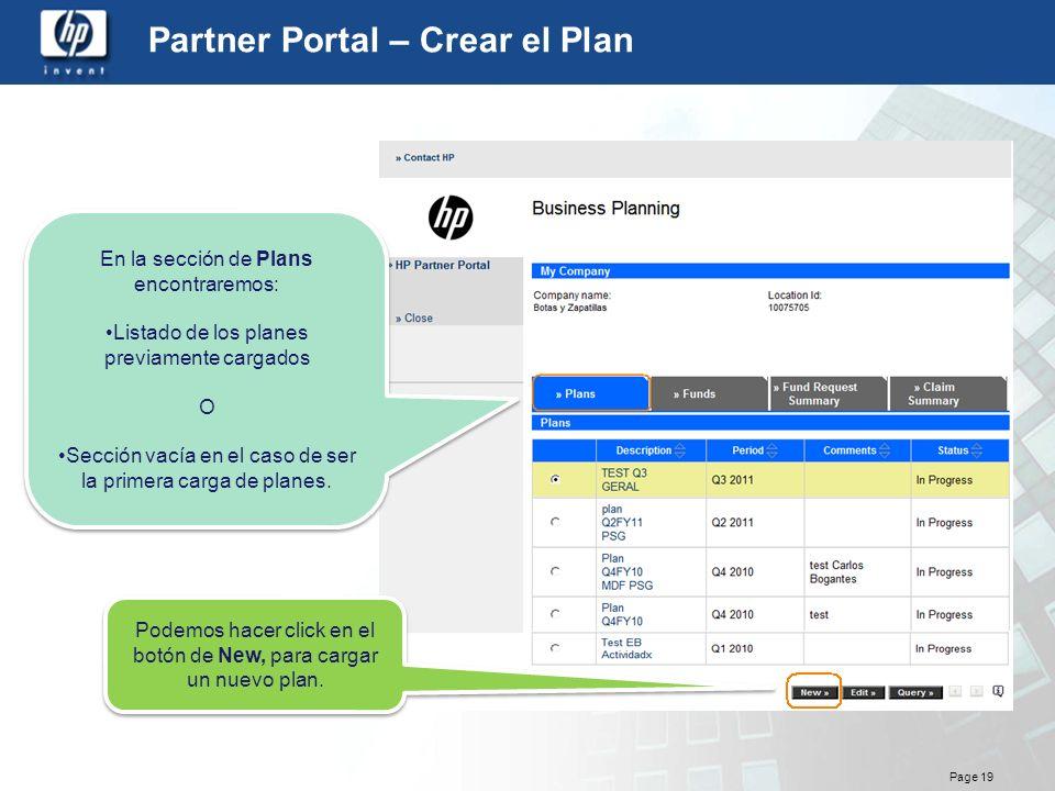 Partner Portal – Crear el Plan