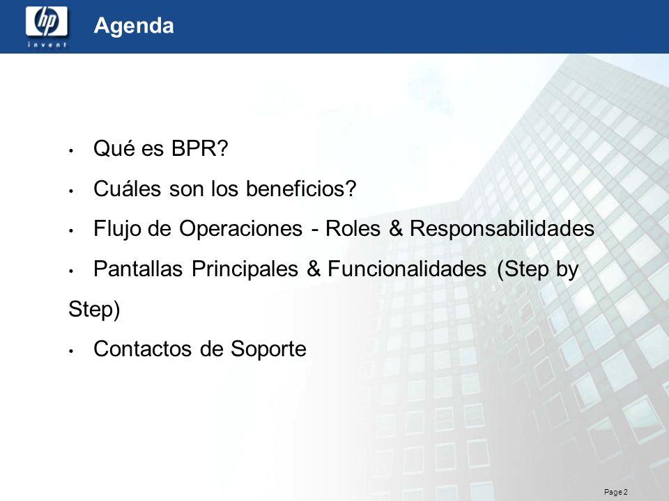 Agenda Qué es BPR Cuáles son los beneficios Flujo de Operaciones - Roles & Responsabilidades.