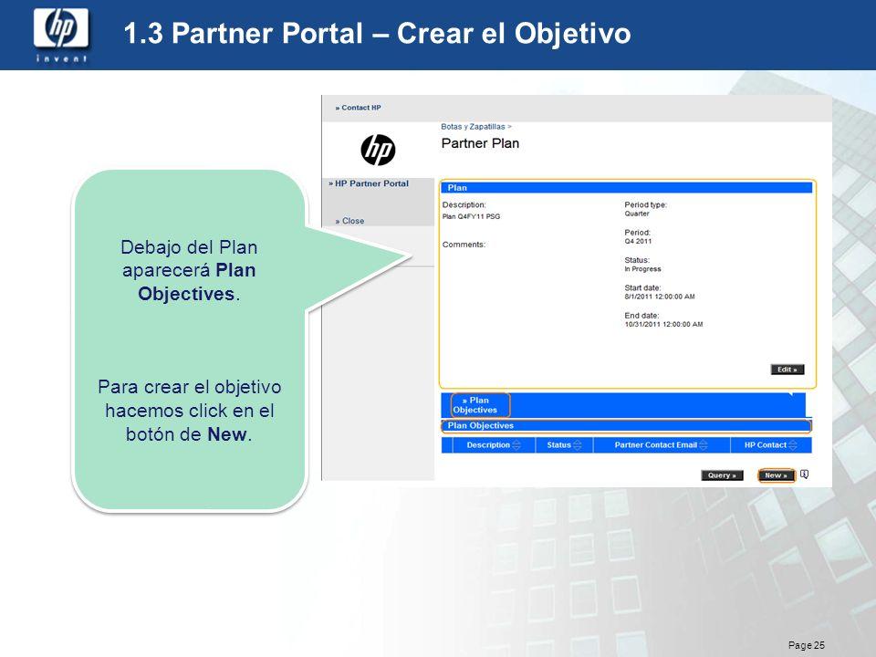 1.3 Partner Portal – Crear el Objetivo