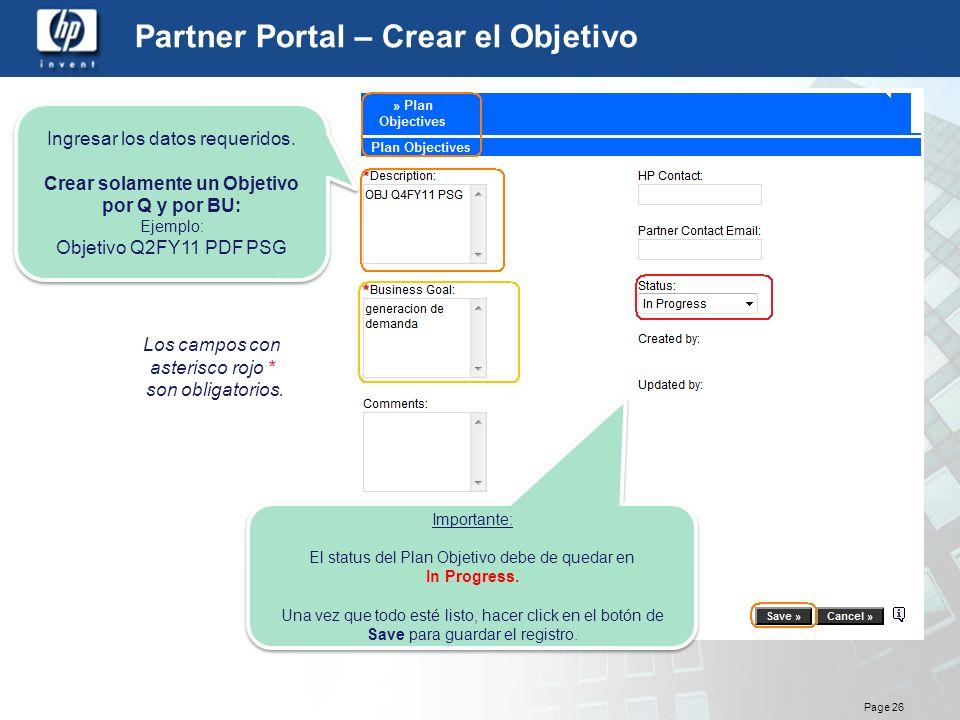 Partner Portal – Crear el Objetivo