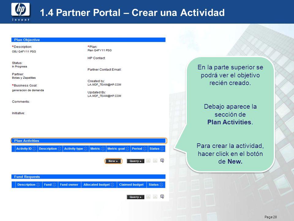 1.4 Partner Portal – Crear una Actividad