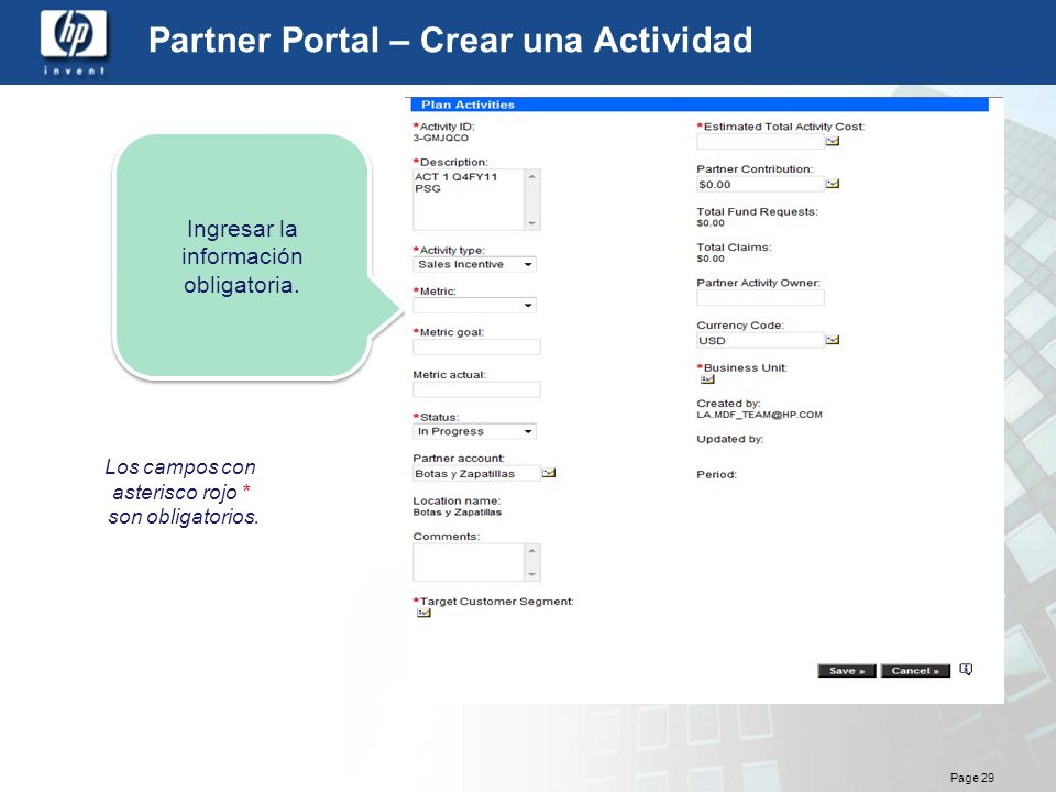 Partner Portal – Crear una Actividad