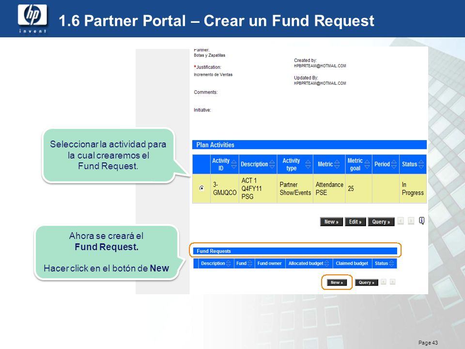 1.6 Partner Portal – Crear un Fund Request