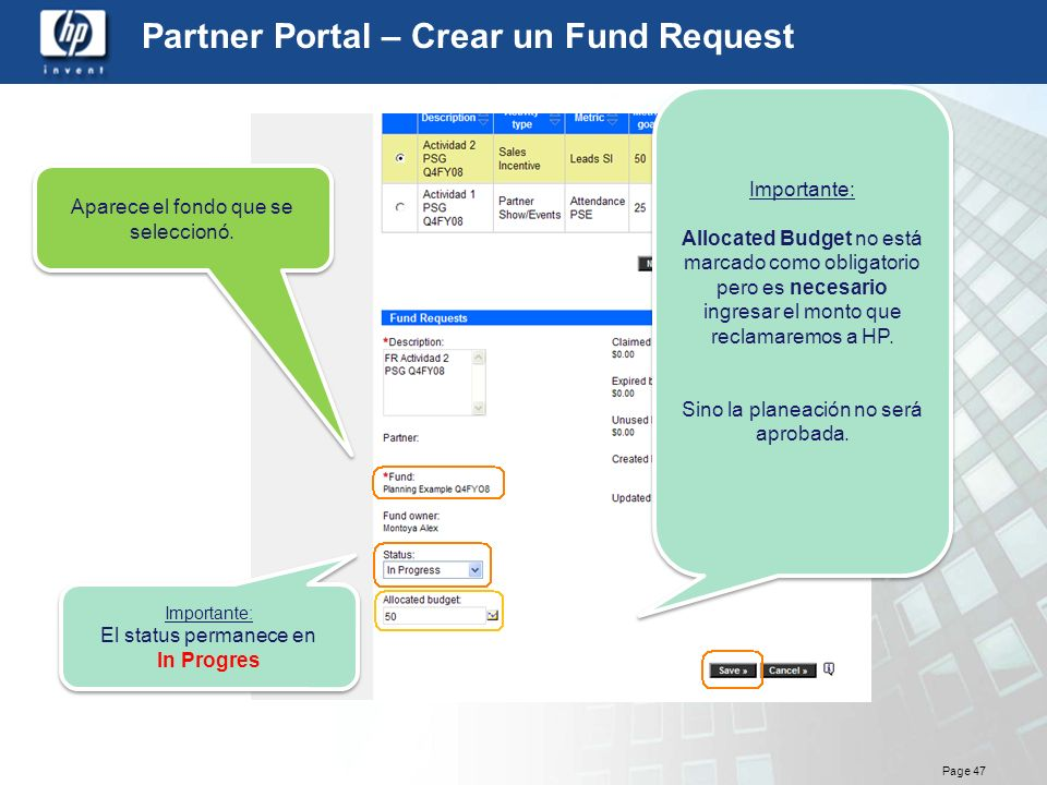 Partner Portal – Crear un Fund Request