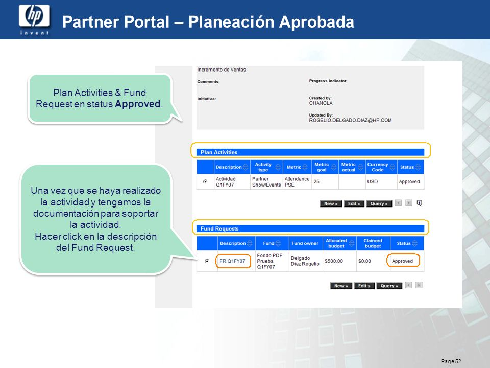 Partner Portal – Planeación Aprobada