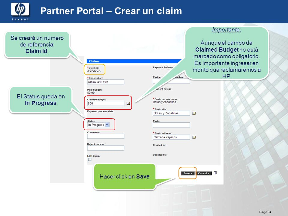 Partner Portal – Crear un claim