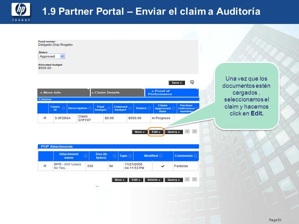 1.9 Partner Portal – Enviar el claim a Auditoría