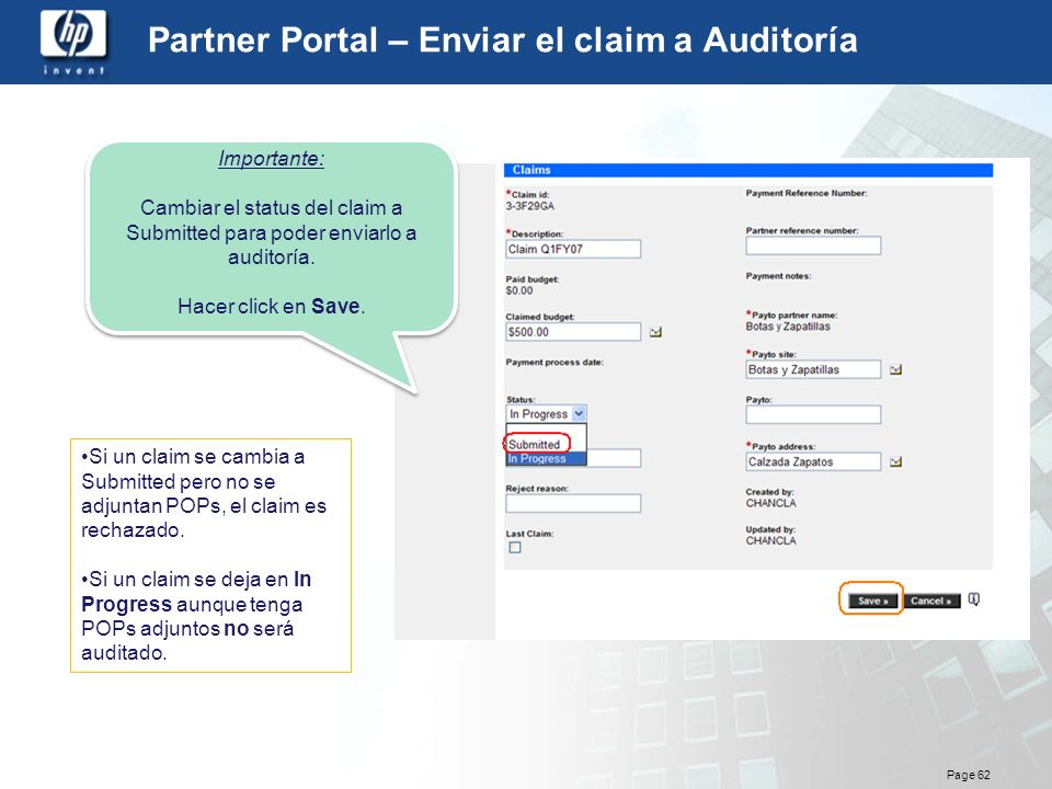 Partner Portal – Enviar el claim a Auditoría
