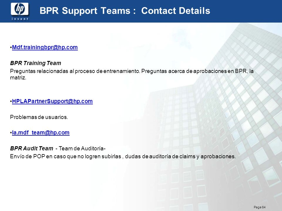 BPR Support Teams : Contact Details