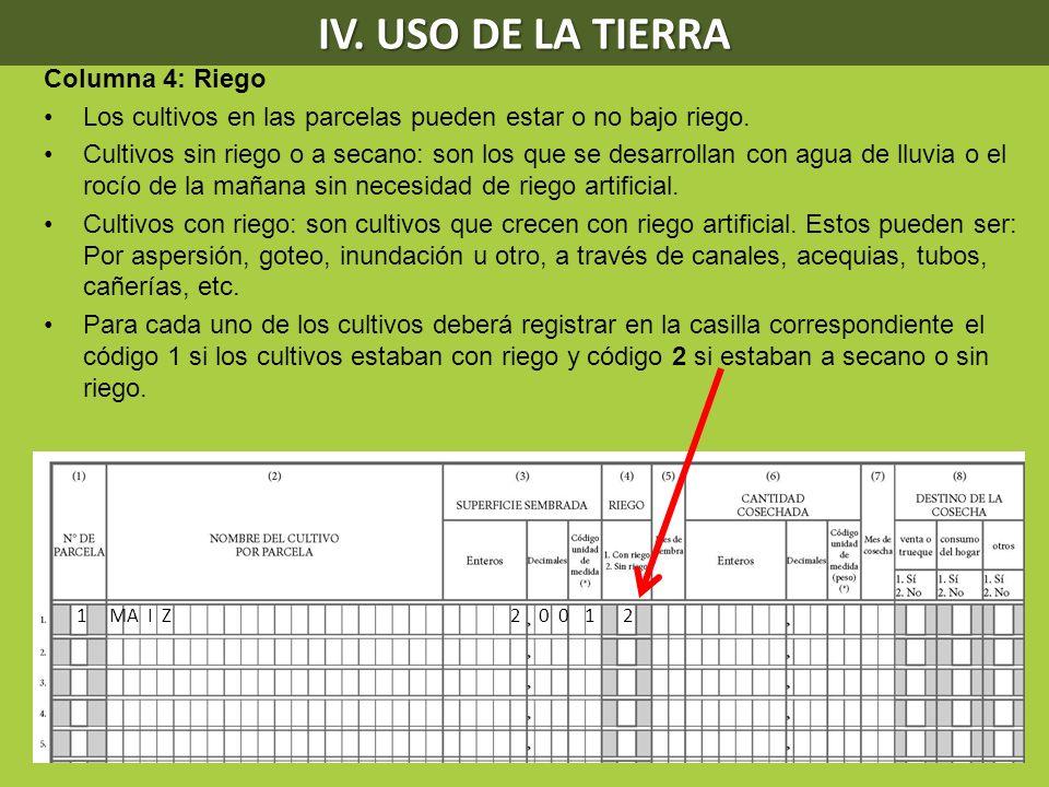 IV. USO DE LA TIERRA Columna 4: Riego