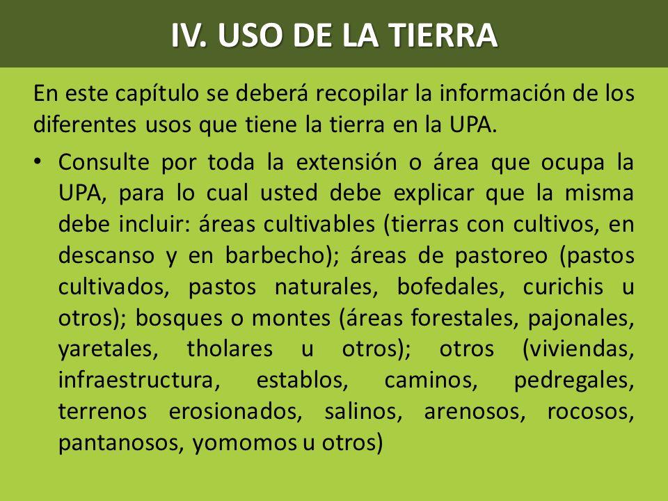 IV. USO DE LA TIERRA En este capítulo se deberá recopilar la información de los diferentes usos que tiene la tierra en la UPA.