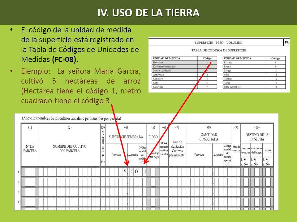 IV. USO DE LA TIERRA El código de la unidad de medida de la superficie está registrado en la Tabla de Códigos de Unidades de Medidas (FC-08).