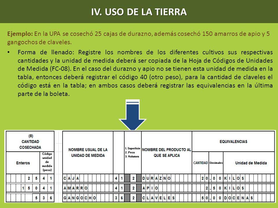 IV. USO DE LA TIERRA Ejemplo: En la UPA se cosechó 25 cajas de durazno, además cosechó 150 amarros de apio y 5 gangochos de claveles.