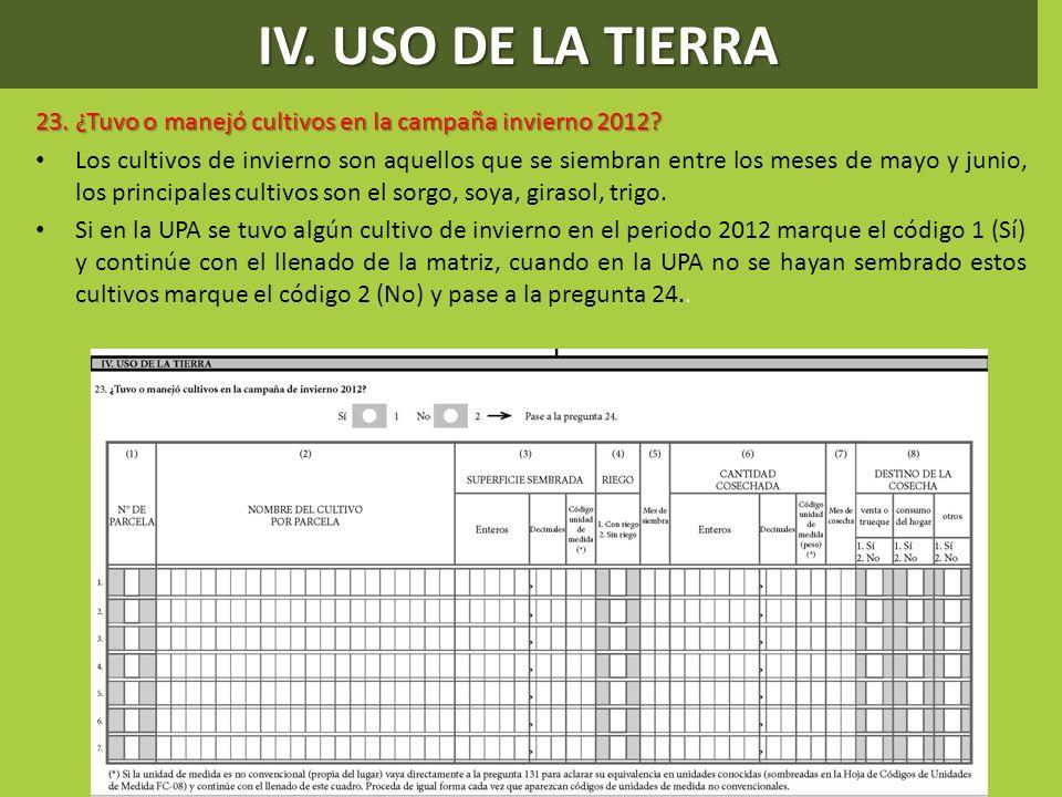 IV. USO DE LA TIERRA 23. ¿Tuvo o manejó cultivos en la campaña invierno 2012
