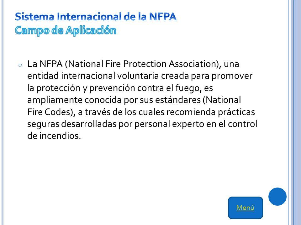 Sistema Internacional de la NFPA Campo de Aplicación
