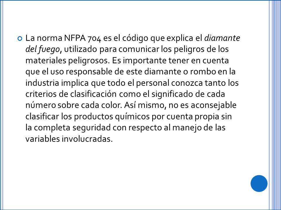 La norma NFPA 704 es el código que explica el diamante del fuego, utilizado para comunicar los peligros de los materiales peligrosos.