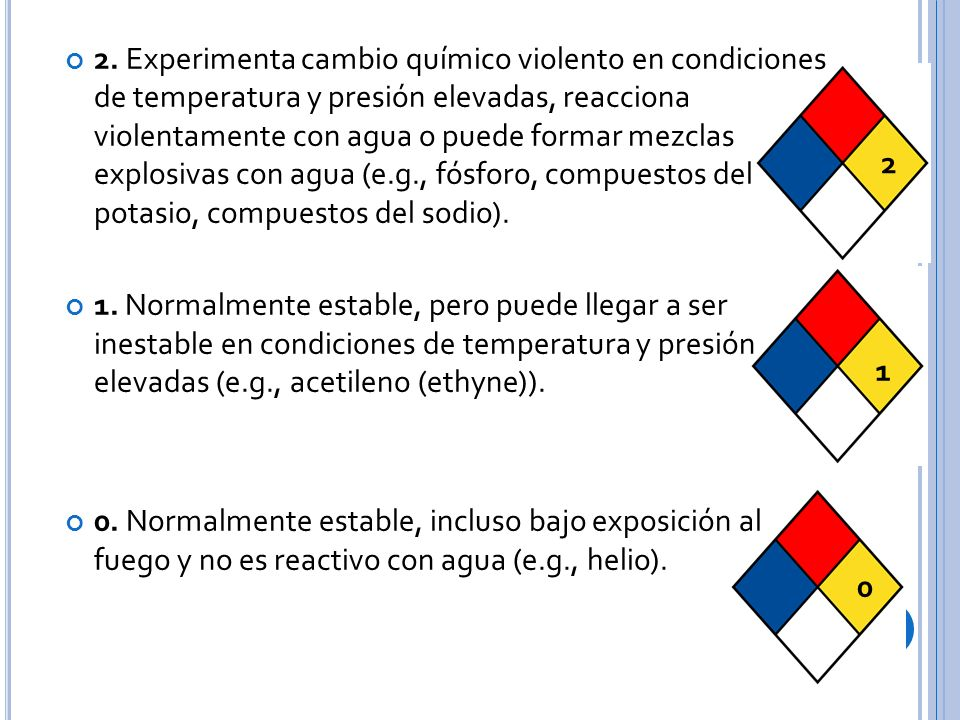 2. Experimenta cambio químico violento en condiciones de temperatura y presión elevadas, reacciona violentamente con agua o puede formar mezclas explosivas con agua (e.g., fósforo, compuestos del potasio, compuestos del sodio).