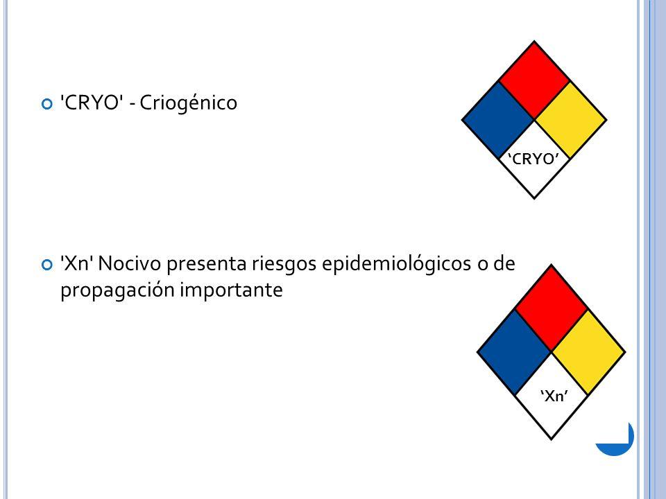 CRYO - Criogénico Xn Nocivo presenta riesgos epidemiológicos o de propagación importante. 'CRYO'