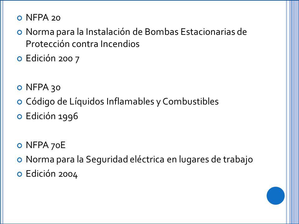 NFPA 20 Norma para la Instalación de Bombas Estacionarias de Protección contra Incendios. Edición 200 7.